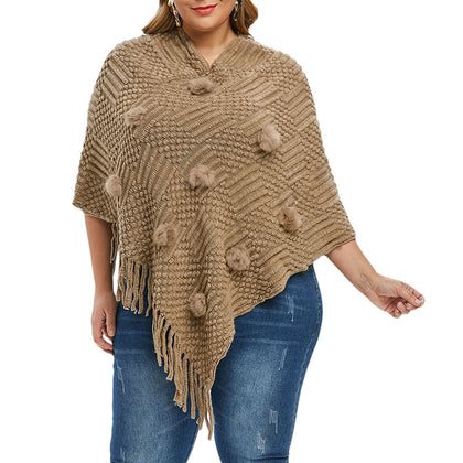 Pompoms Fringed Poncho Plus Size Sweater
