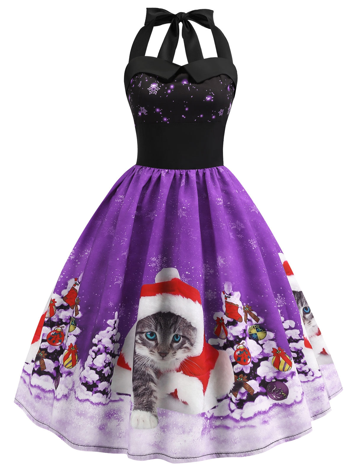 Christmas Hat Cat Print Shirred Sleeveless Dress