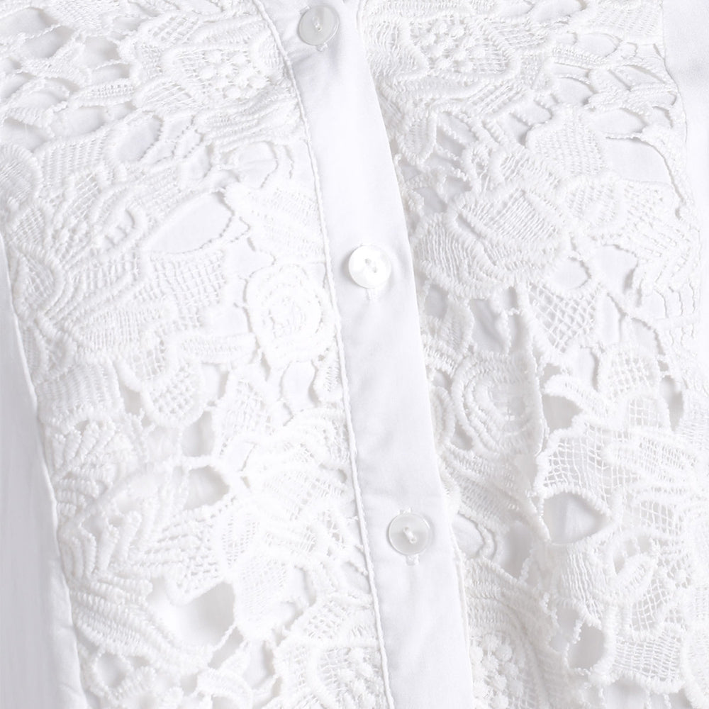 Plus Size Lace Crochet  Roll Up Sleeve Shirt
