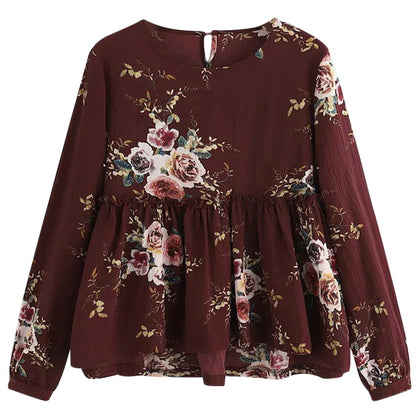 Women Blouse Floral Print Round Collar Long Sleeve for Daily Wear