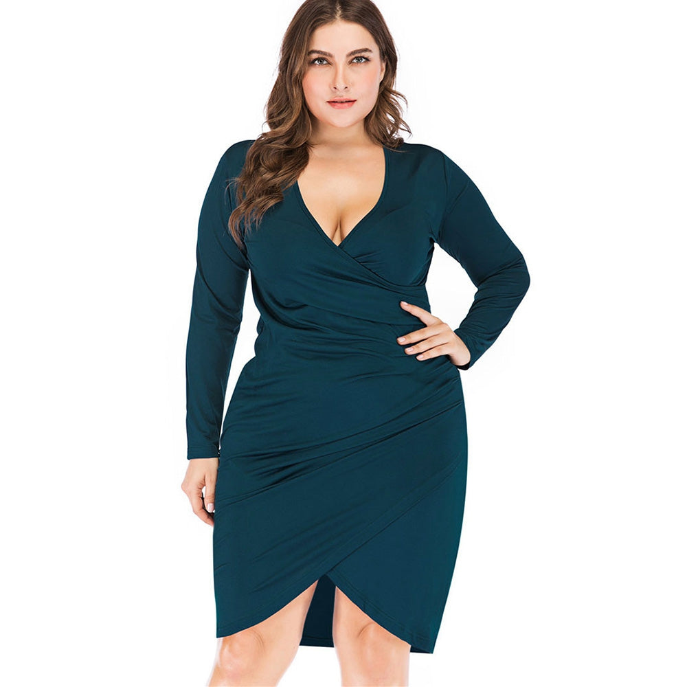 Draped Long Sleeve Surplice Plus Size Tulip Dress