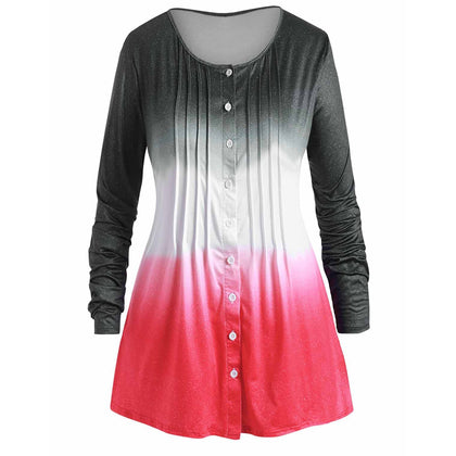 Ombre Pleated Button Up Plus Size Long Sleeve Top