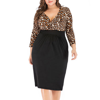 Leopard Stitching Elegant Plus Size Dress