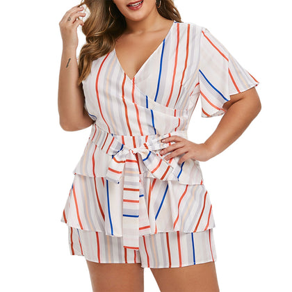 Muli Striped Tiered Tie Plus Size Surplice Romper