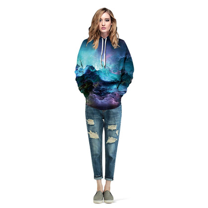 Women Pullover Hoodie Fashionable Printed Pattern Long Sleeve 2 Pockets