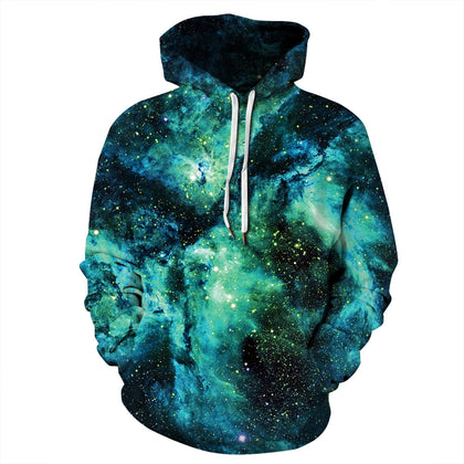 Women Pullover Hoodie Starry Sky Print Long Sleeve Loose-fitting Style 2 Pockets