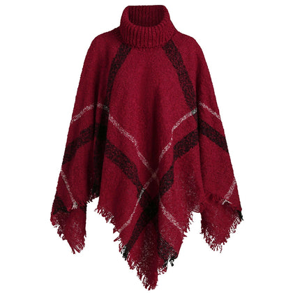 Plus Size Turtleneck Plaid Fringe Cape Sweater