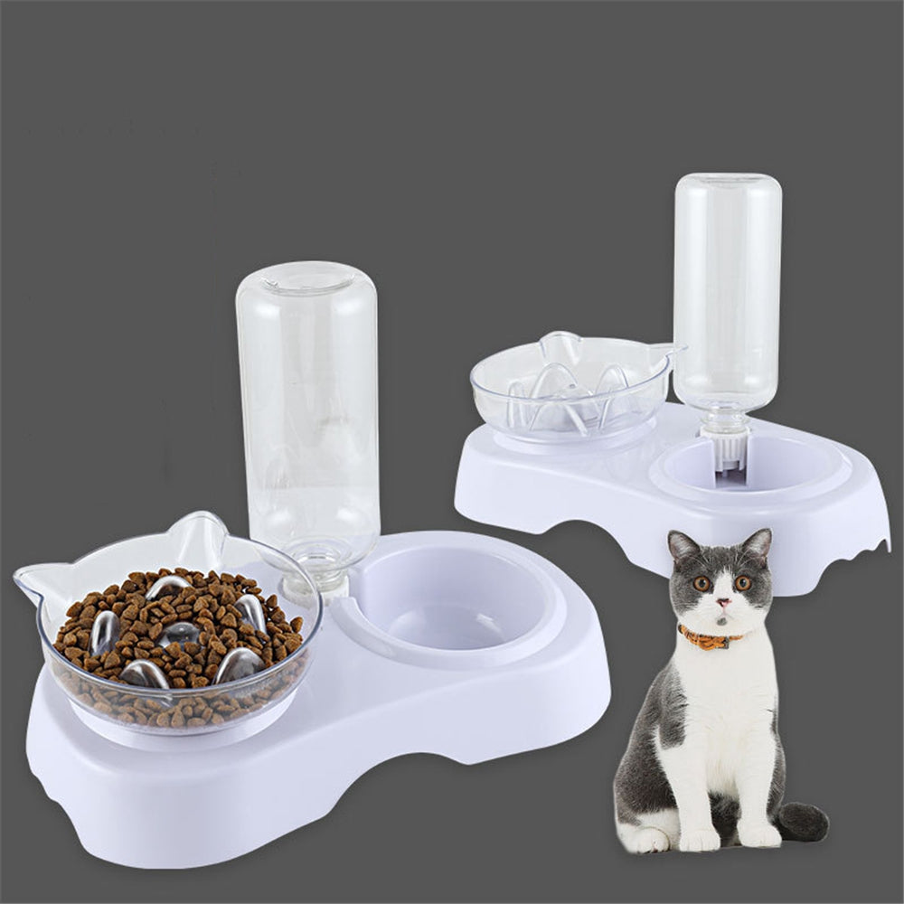 Cat Bowl 2-in-1 Food Water Feeder Bowl Automatic Waterer Bottle Inclined Design for Cats and Dogs