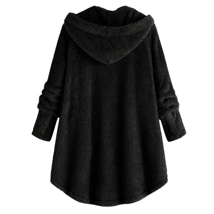 Women Hooded Lambs Asymmetrical Hem Jacket