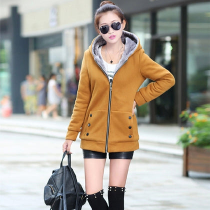 New fall and winter clothes thick velvet hoodies Sweatshirt  woman coats