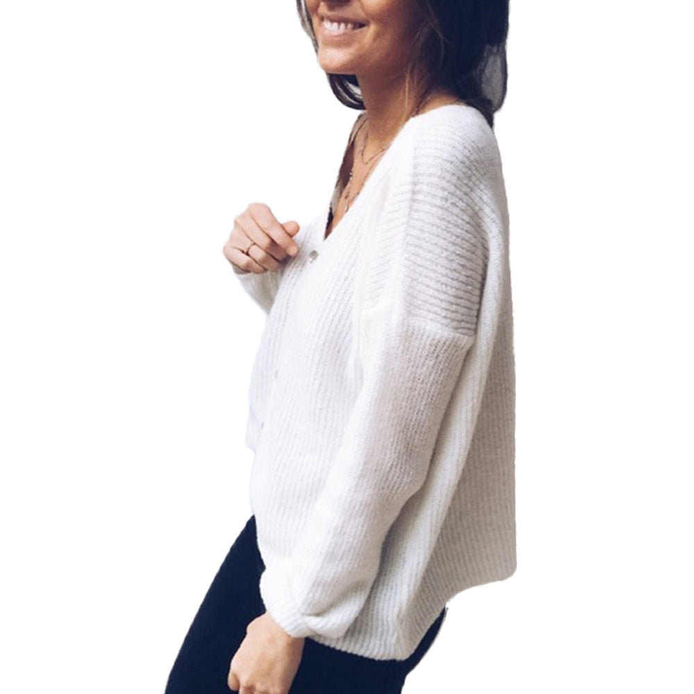 Women Cardigan Button Sweater V-neck Long Sleeves Blouse Loose Tops