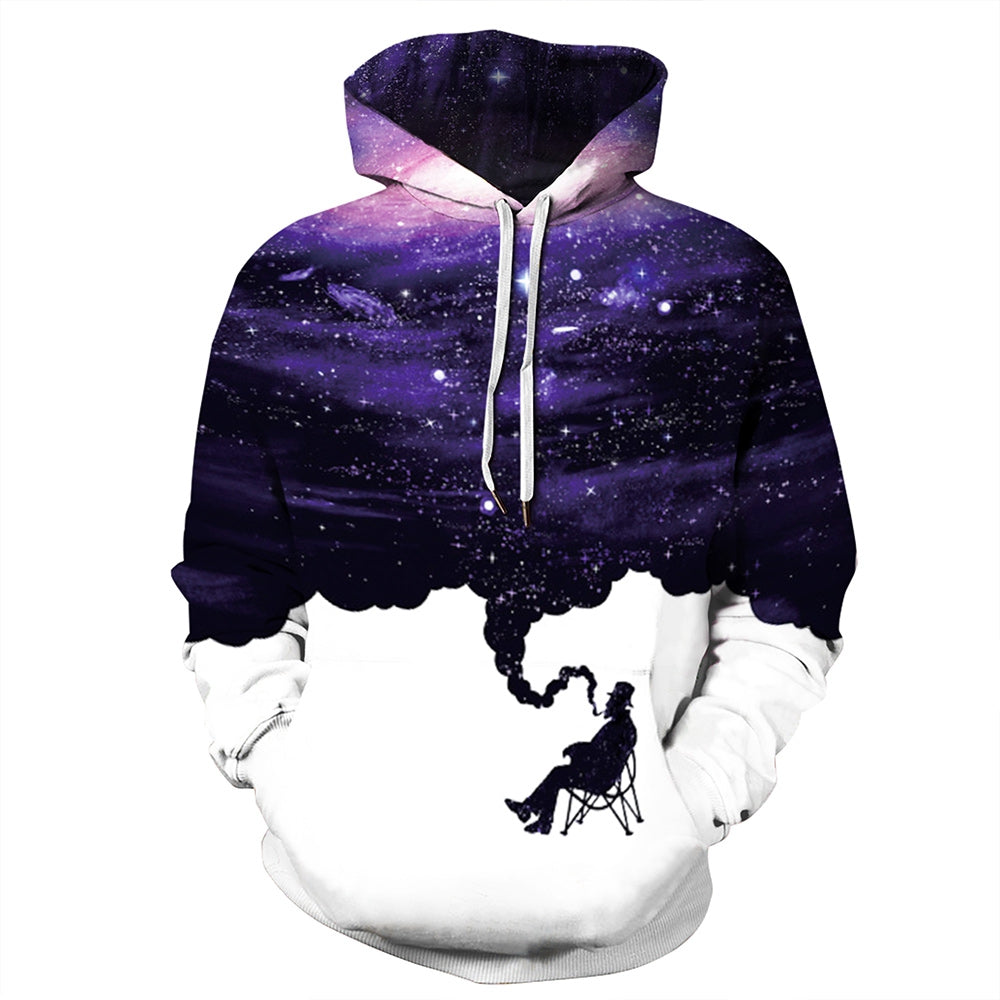 Men Pullover Hoodie Fashionable Printed Pattern Long Sleeve with 2 Pockets