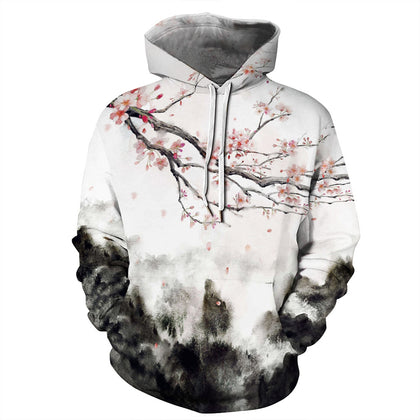 Ink Printing Hooded Sweater for Women