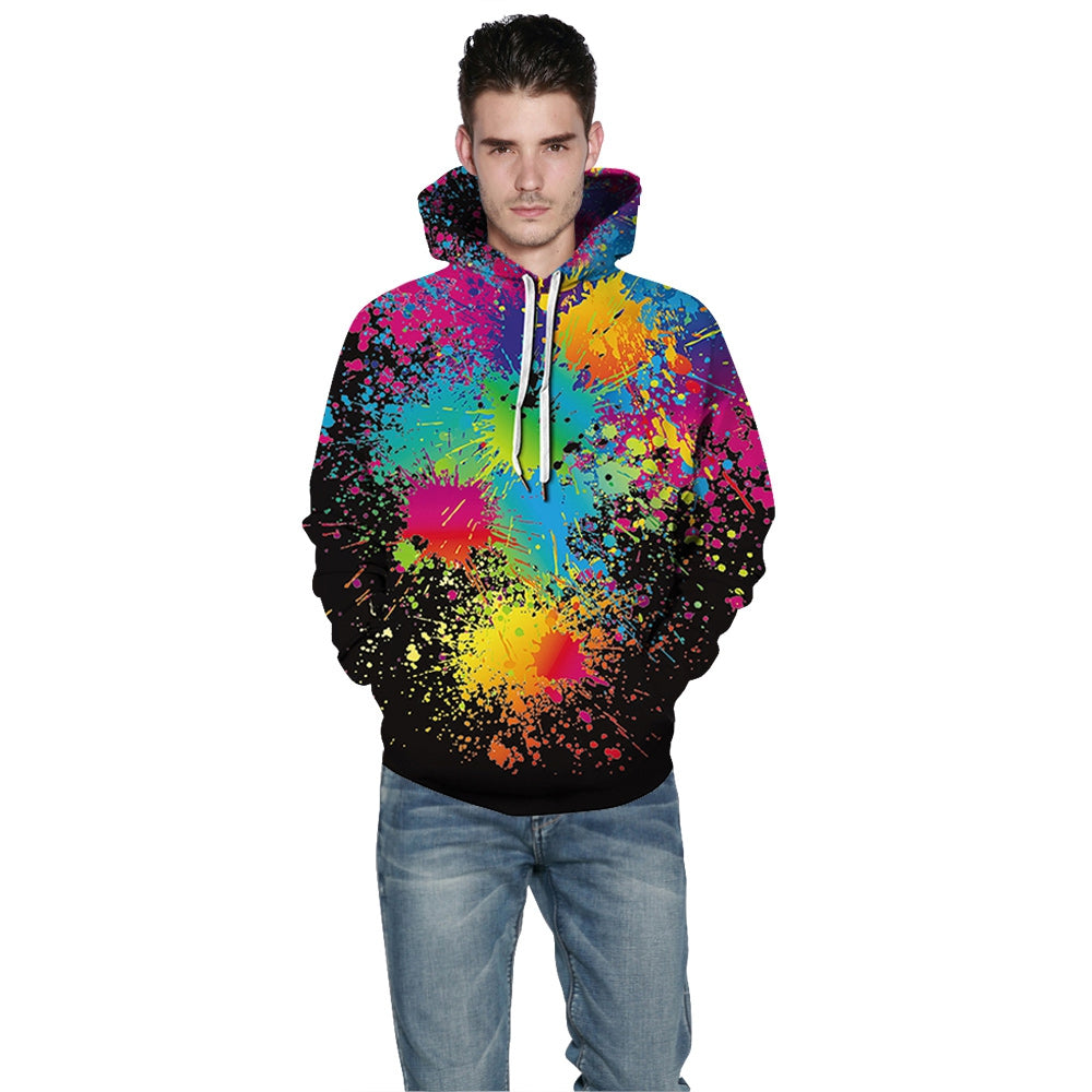 QYXH - 049 Colorful Ink Jet Printing Hooded Sweater for Men