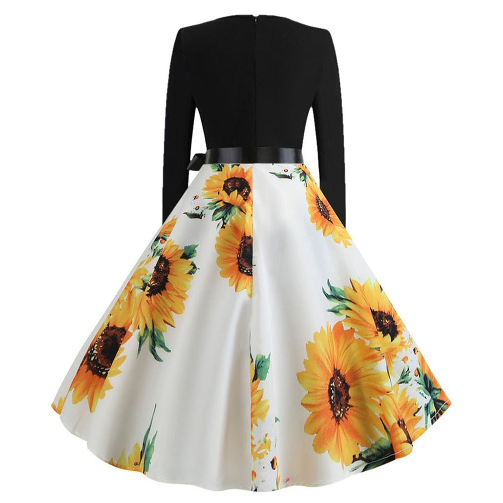 Women Vintage Dress Sunflower Print Long Sleeve with Waistband