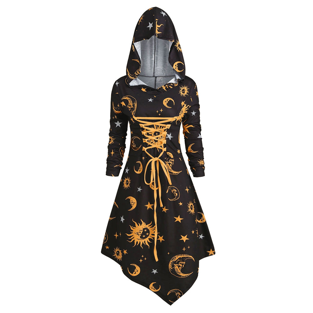 Skull Sun and Moon Lace Up Halloween Hooded Dress