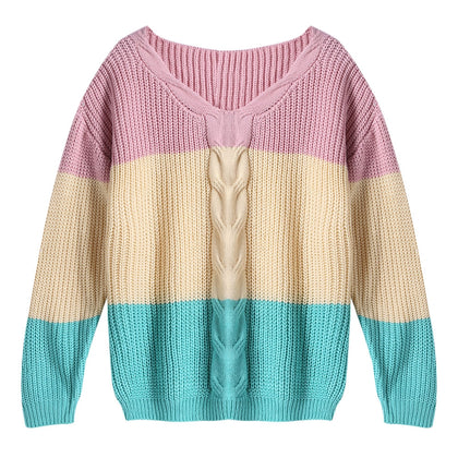 V-neck Multi-colour Patchwork Pullover for Women