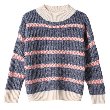 Knit Sweater Round Collar Long Sleeve Loose-fitting Women Pullover