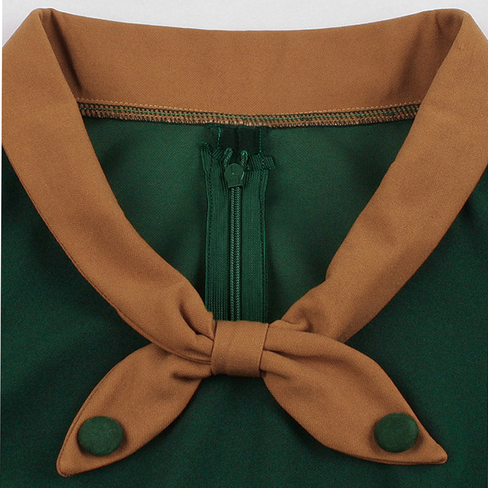 Bowknot Vintage Belted Fit and Flare Dress