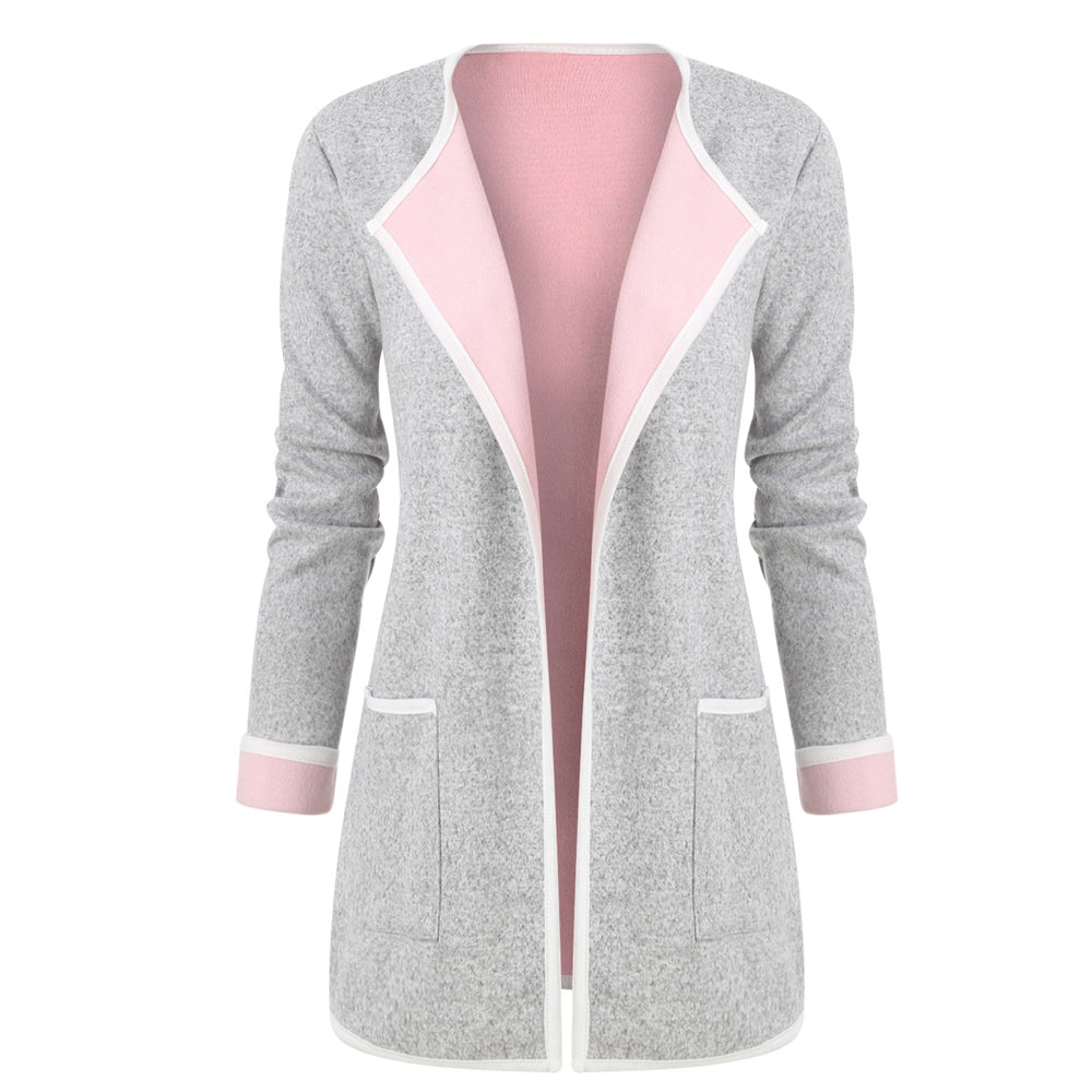 Cuffed Sleeves Heathered Pokcets Cardigan