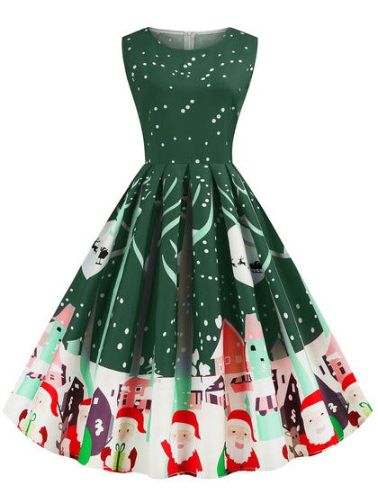 Santa Claus Snowflake Reindeer Christmas A Line Dress
