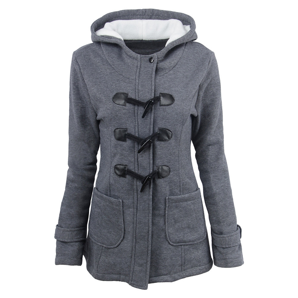 Female Coat Thick Horn Button Hooded Cotton Blend Women Jacket