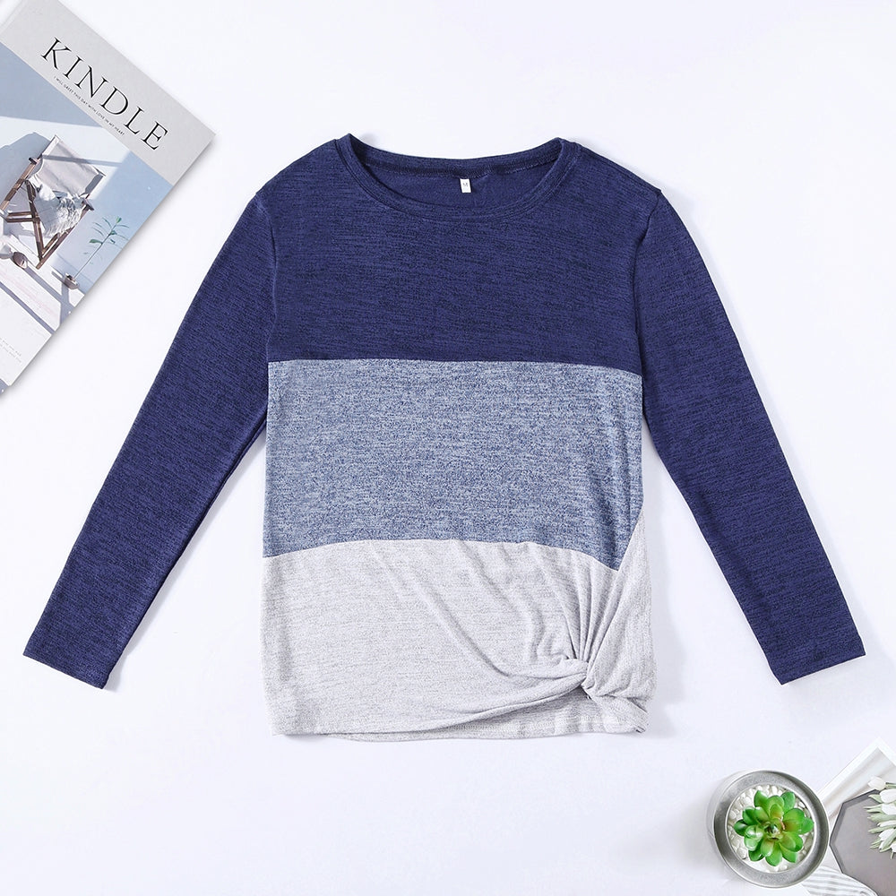 Bat Sleeve Round Neck Loose Color Splice Women T-shirt