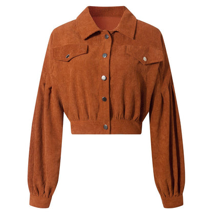N-82122 Corduroy Coat Lantern Sleeve Crop Top Women Jacket