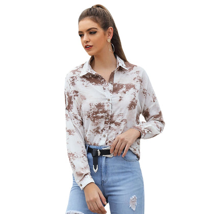 Tie-dyed Long-sleeved Ladies Lapel Shirt for Women