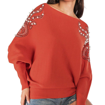 Faux Pearl Embellished Boat Neck Blouson Sweater