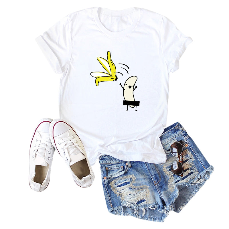 Banana Strip Printed Short Sleeve T-shirt for Women