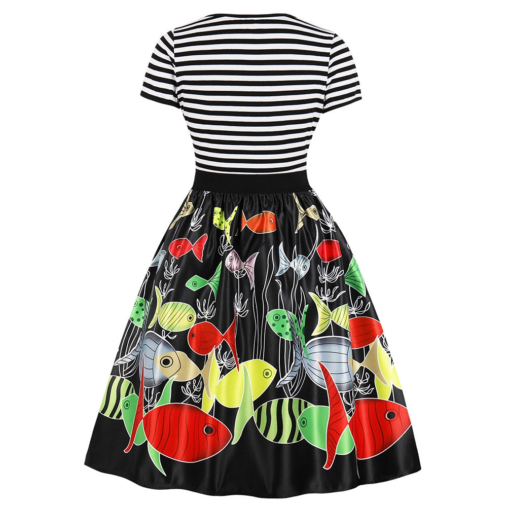 Printed Pattern Vintage Dress for Women