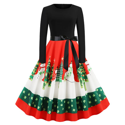 Christmas Print Vintage Dress for Women