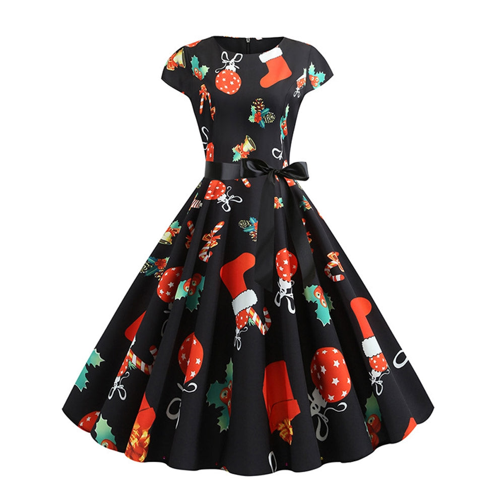 Santa Claus Gifts Cap Sleeves Belted Christmas Dress