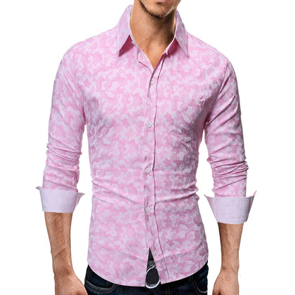 Camouflage Print Button Slim Fit Men Shirt