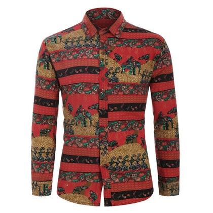 Tribal Floral Character Animal Paisley Print Men Shirt