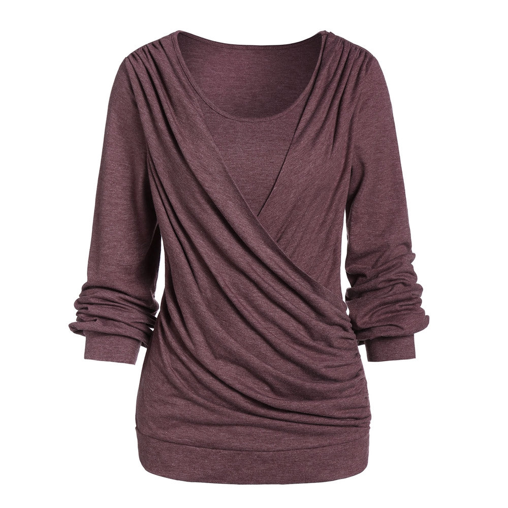 Long Sleeve Round Collar Marled Women T-shirt