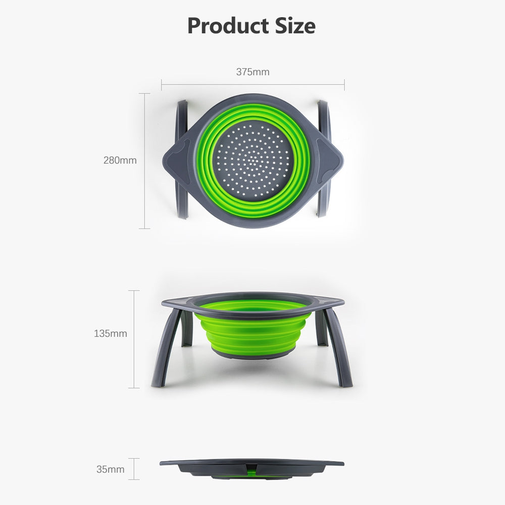 Collapsible Silicone Fruit Vegetable Washing Basket Strainer Bowl with Support Frames Kitchen Colander Drainer