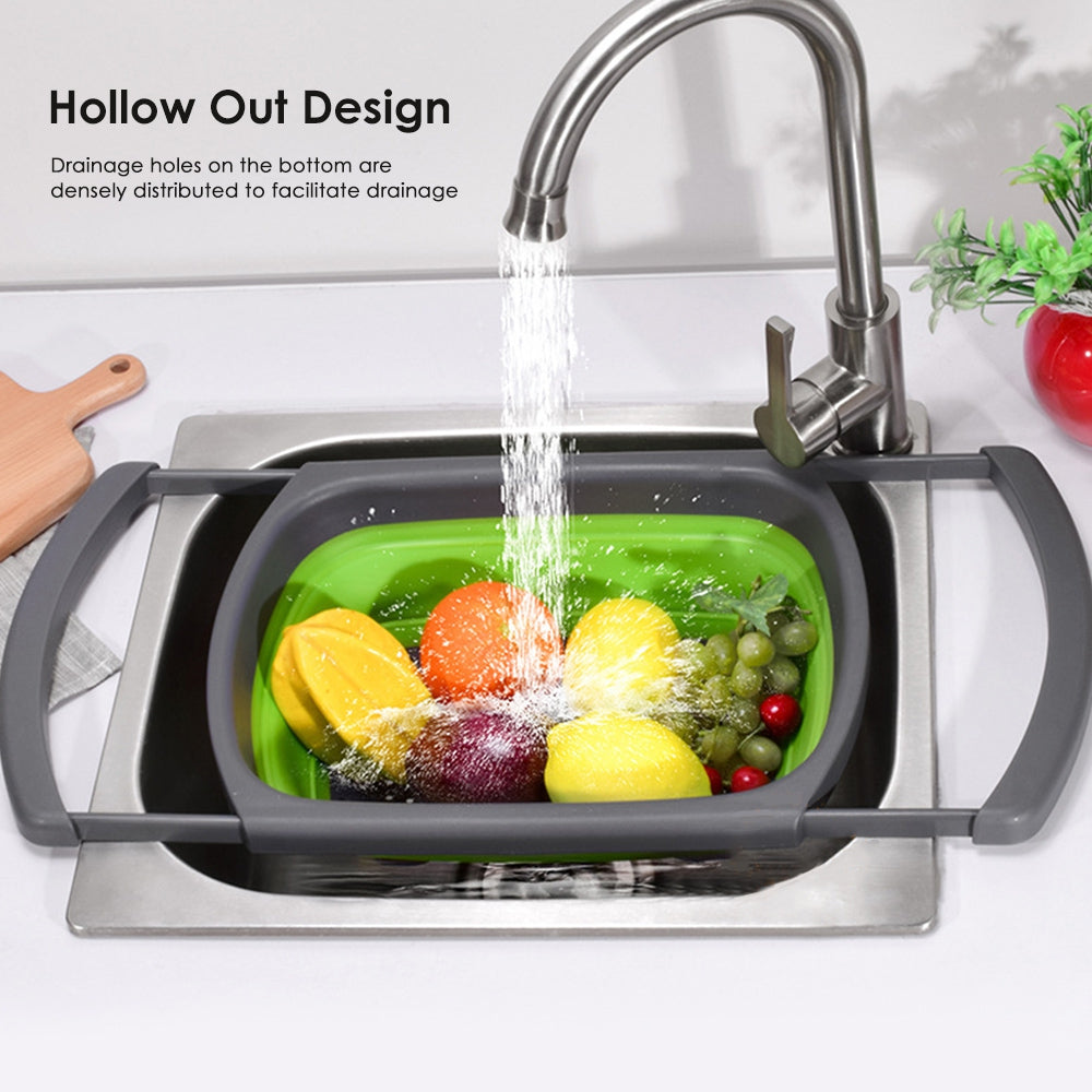 Silicone Over the Sink Colander Strainer with Extendable Handles Kitchen Washing Basket