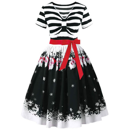 Christmas Santa Claus Stripe Print Belted Vintage Flare Dress