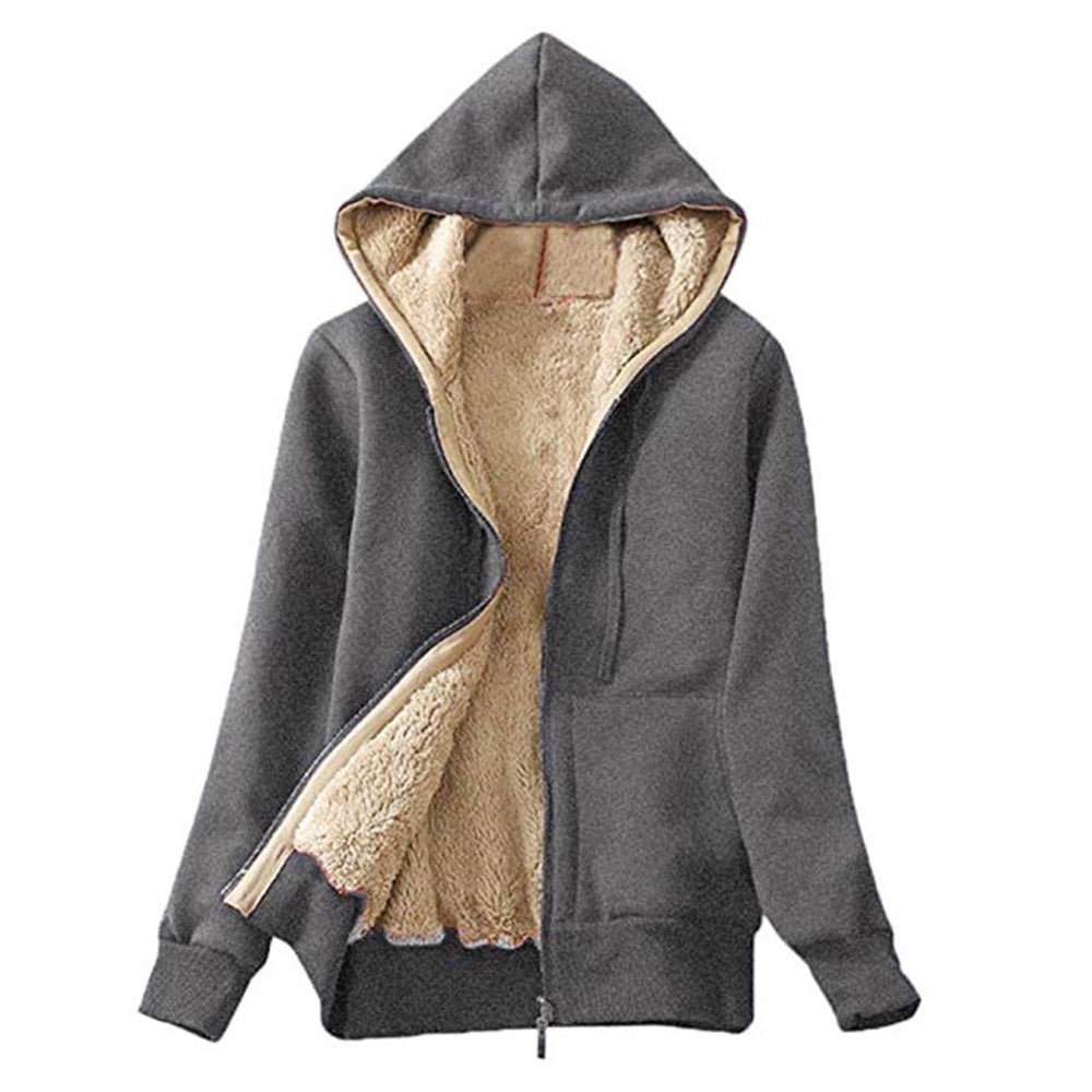 Faux Shearling Lining Hooded Jacket