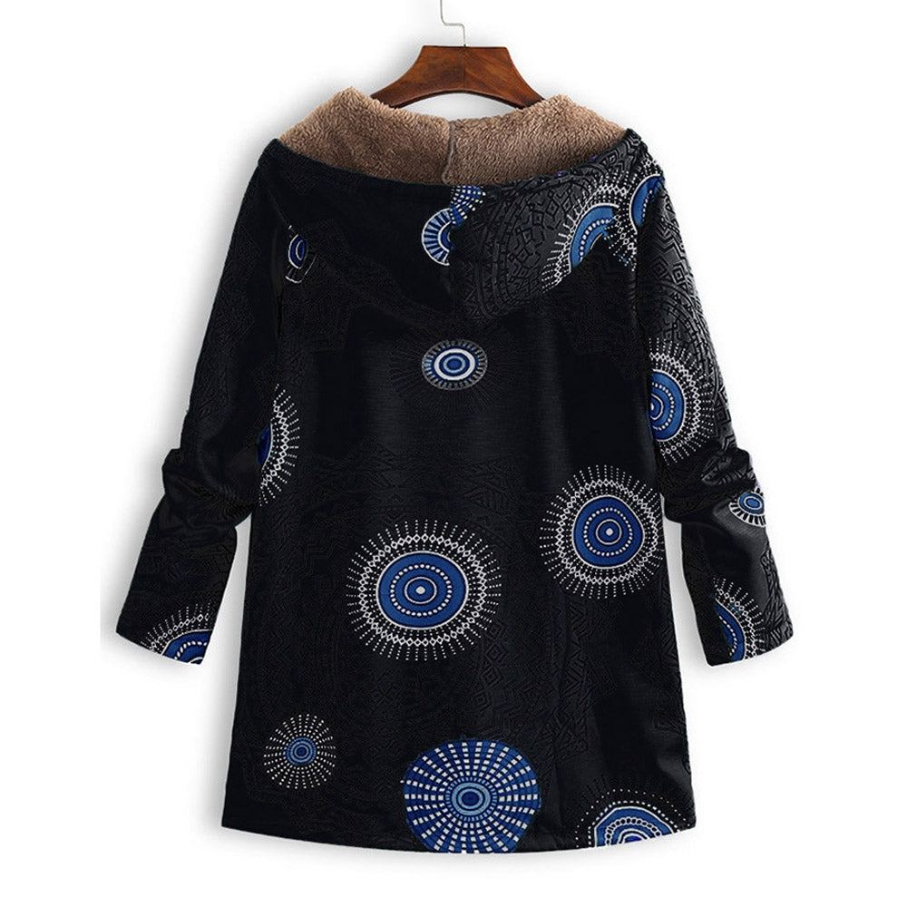Printed Plush Lining Hooded Coat