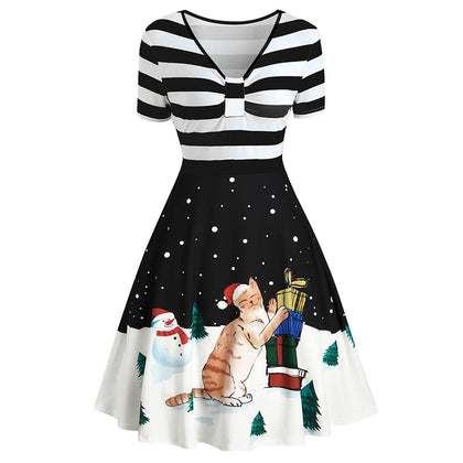 Christmas Cat and Stripe Print Vintage Flare Dress