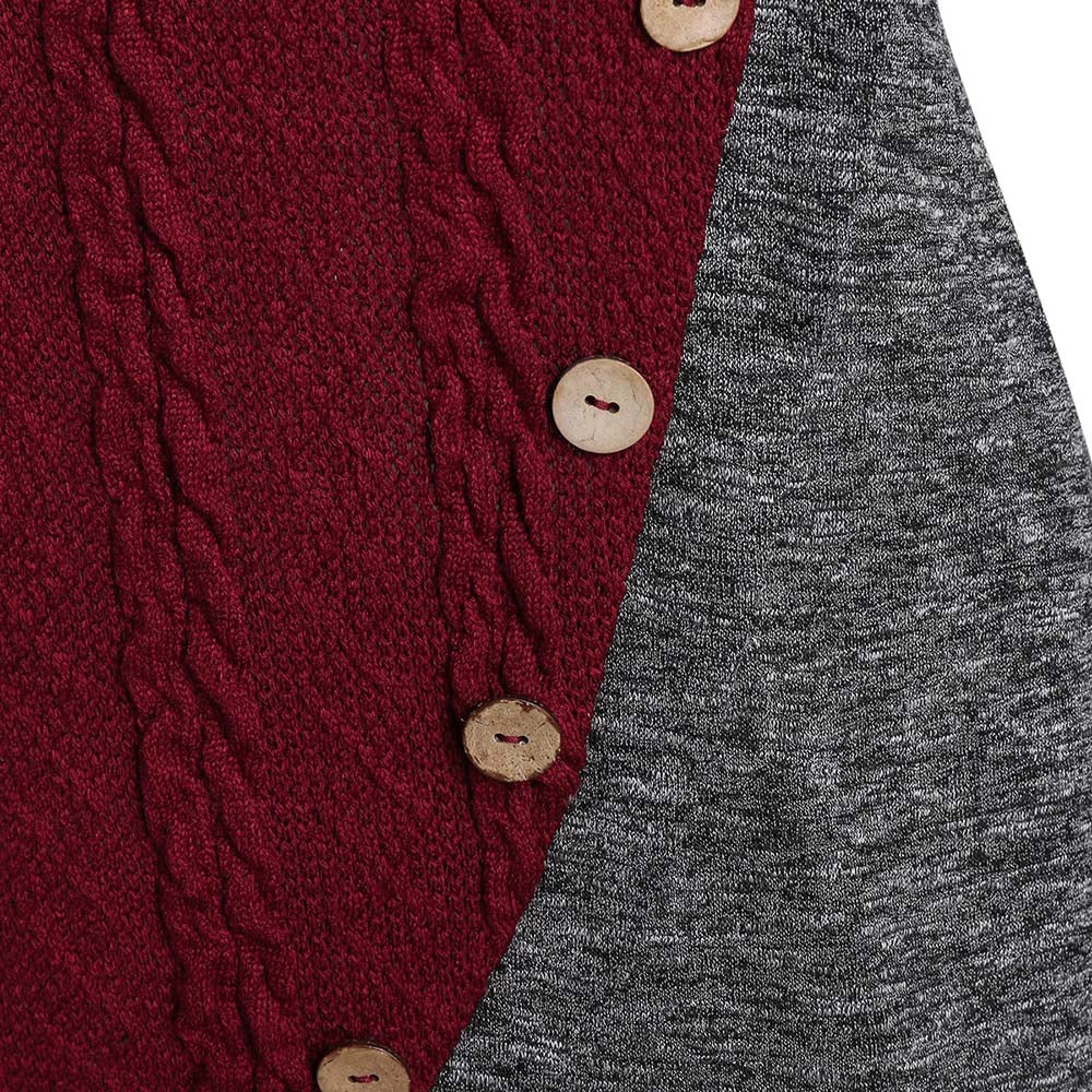 Button Two Tone Turn-down Collar Sweater