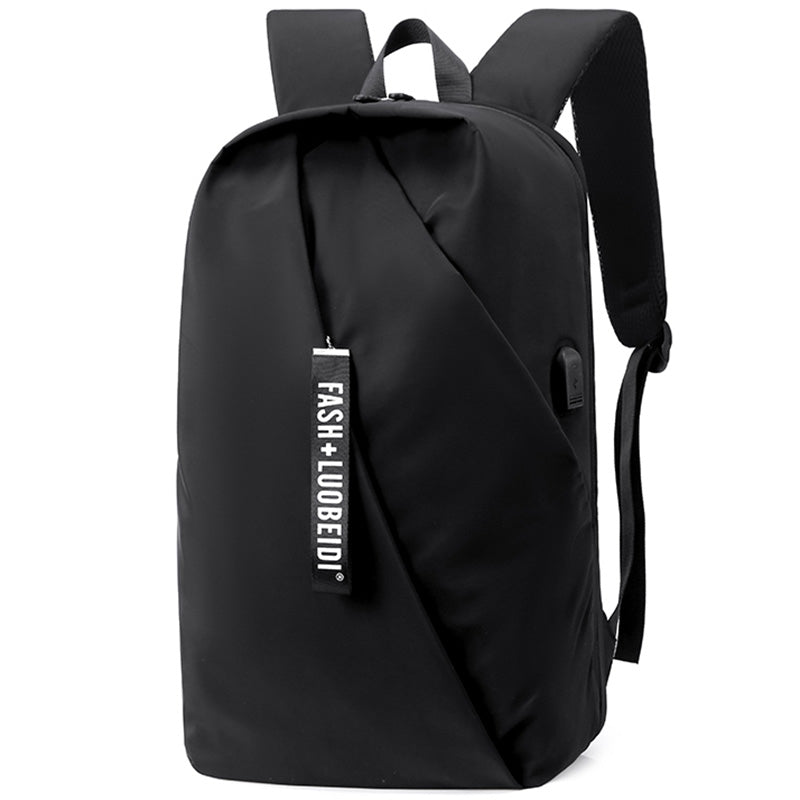 Men's Water-resistant Nylon Material Backpack Casual Business Computer Bag with USB Interface and Trolley Fixing Strap