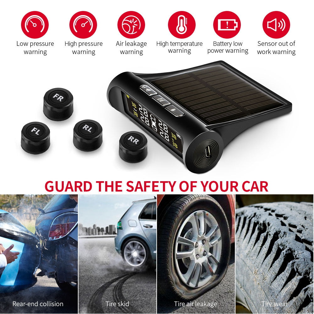 AutoLover TY02 Tire Pressure Monitoring System Solar TPMS USB Charging Clear Screen Real-time Tester 4 External Sensors