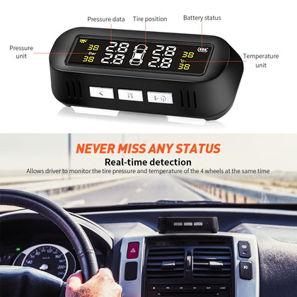 AutoLover TY16 Tire Pressure Monitoring System Solar TPMS USB Charging Clear Screen Real-time Tester 4 External Sensors