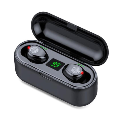 F9 TWS Bluetooth 5.0 Wireless Earbuds Hands-free headphones 10m Working Distance Hi-Fi Sound Effect
