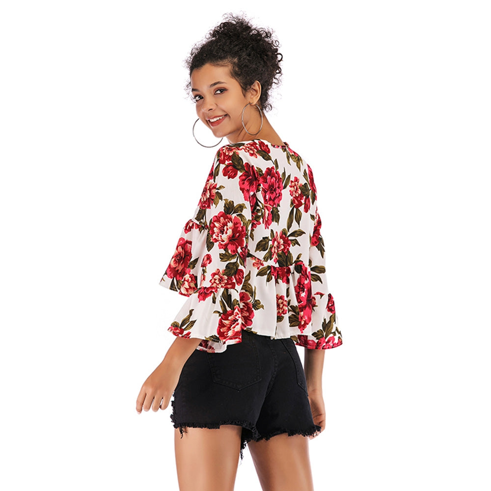 Printed Loose Top V-neck Shirt for Women