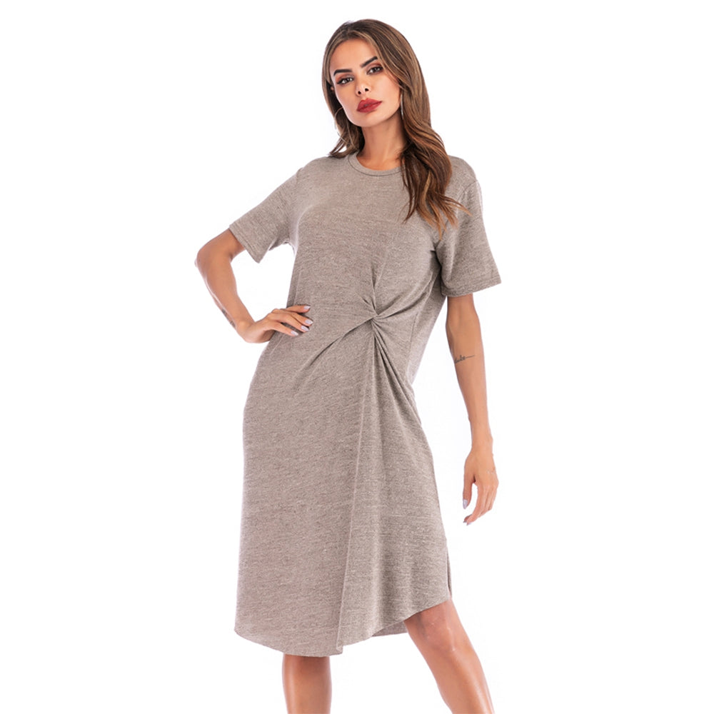 Round Neck Short Sleeve Twisted Knot Casual Dress for Women